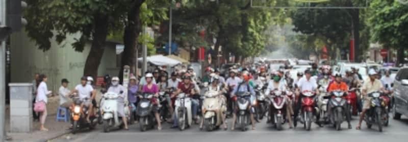 バイクが一列に並ぶ光景は壮観