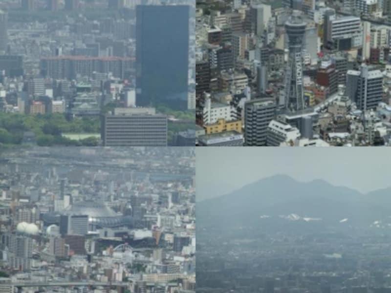 ハルカス300からの眺め(7)/ズームして見える大阪城、通天閣、大阪ドーム(京セラドーム)、二上山