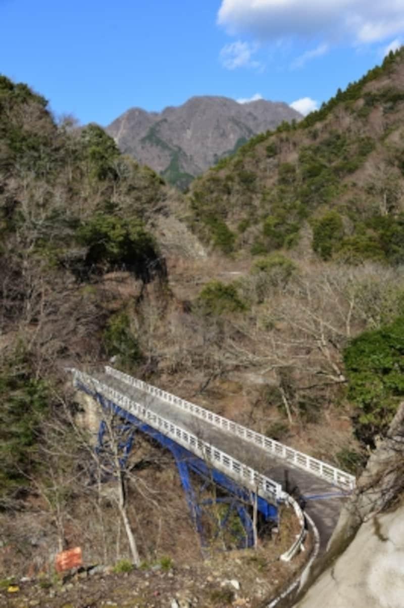「西丹沢県民の森」方面への分岐。写真の橋を渡らず直進します