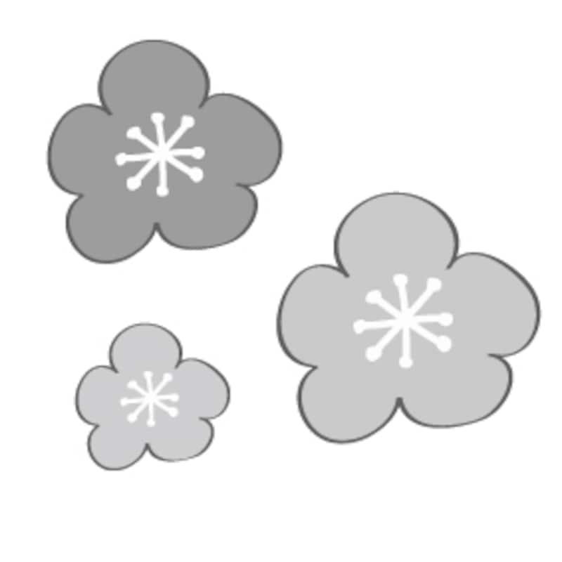 梅 花 イラスト 白黒 かわいい