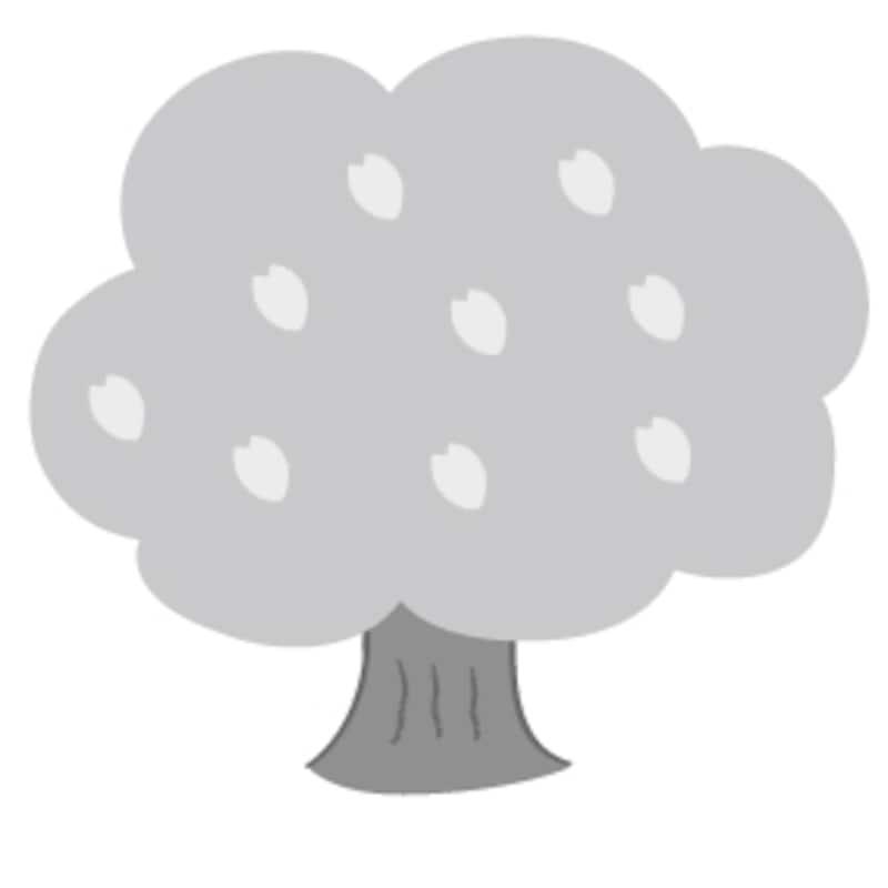 桜の木 花 イラスト 白黒 かわいい