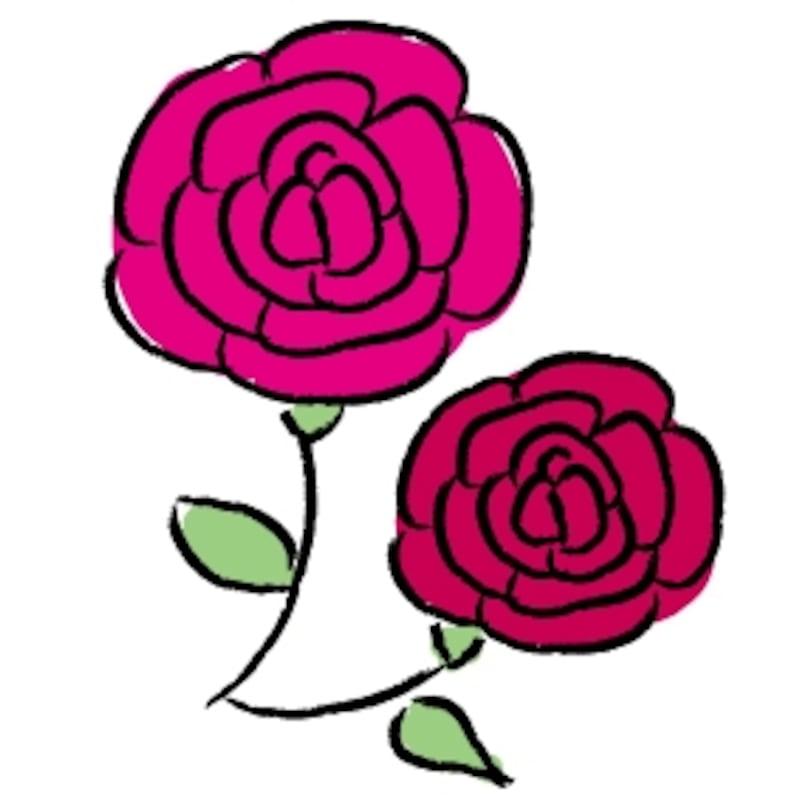 ばら 花 イラスト カラー かわいい