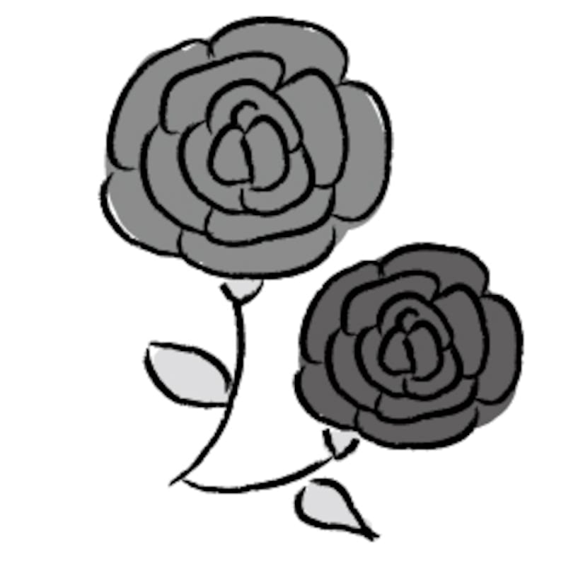 ばら 花 イラスト 白黒 かわいい