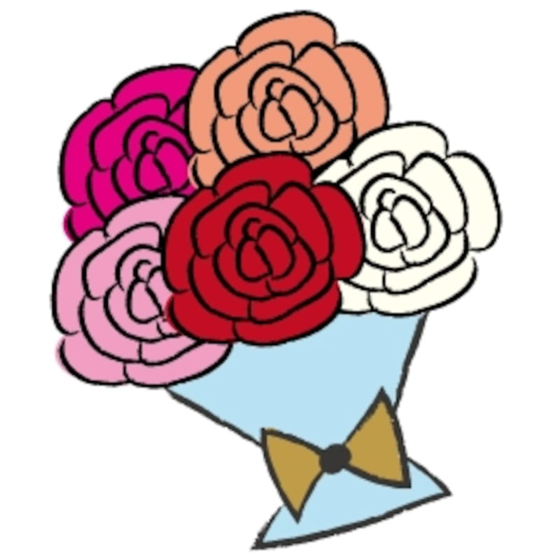 花束 イラスト カラー かわいい