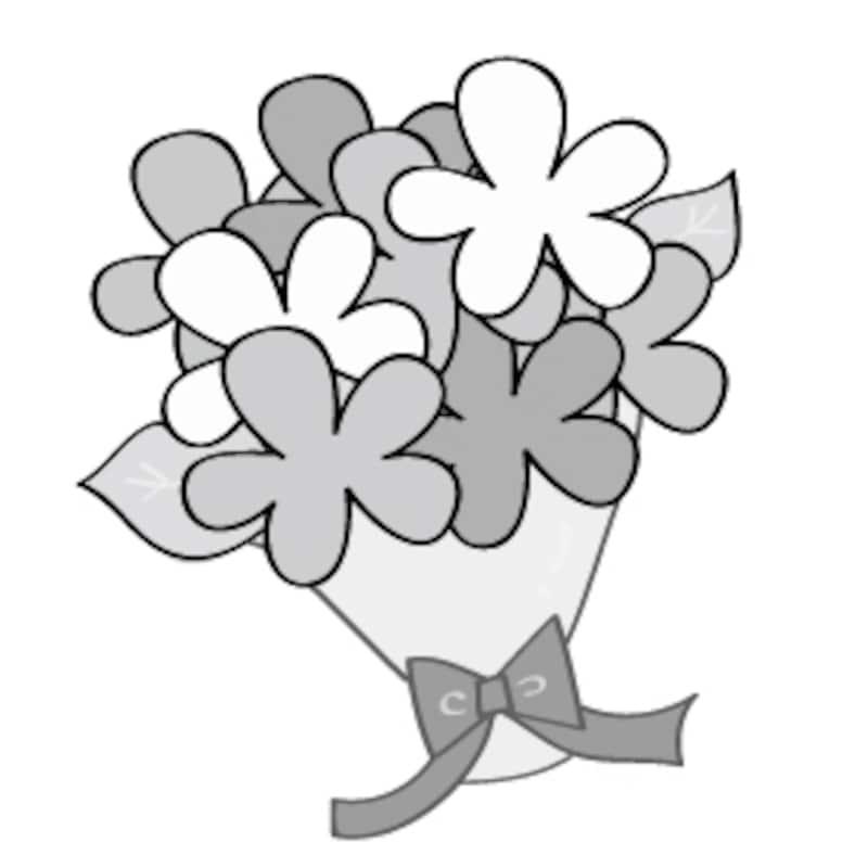 花束 イラスト 白黒 かわいい