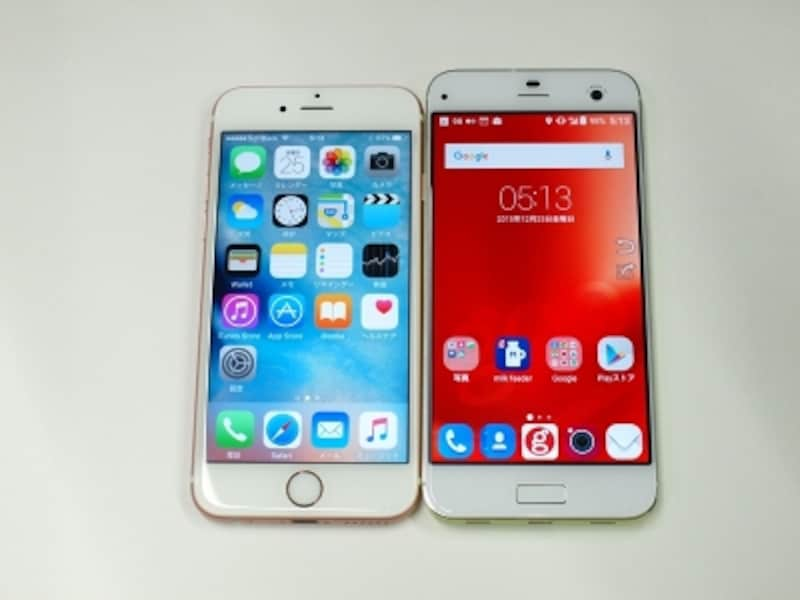 iPhone 6s(左)との比較(正面)