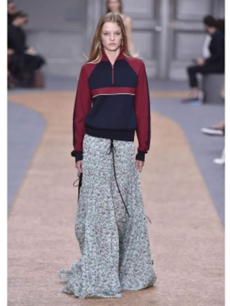 ジャージー×スカートの意外感あるコーデundefinedクロエ2016春夏パリコレクション
