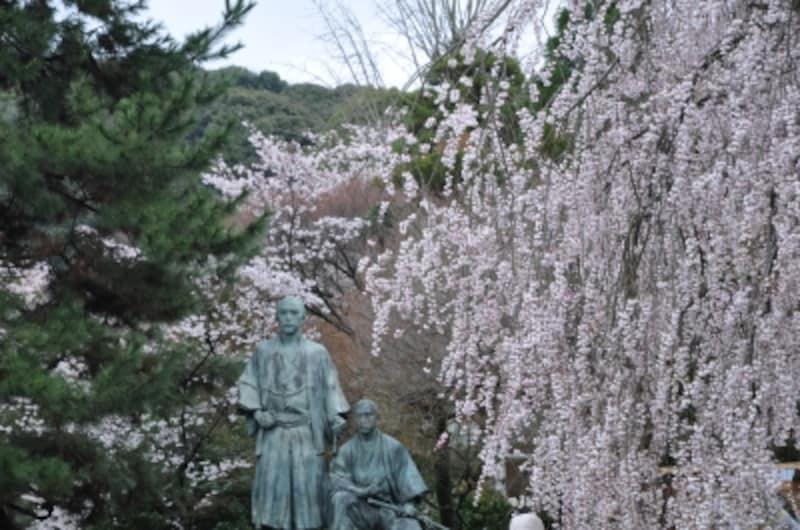 円山公園内の坂本龍馬と中岡慎太郎の銅像