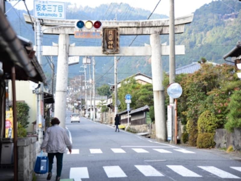 日吉大社の鳥居。道の途中には「坂本観光案内所」があり、パンフレットや地図なども入手できます。