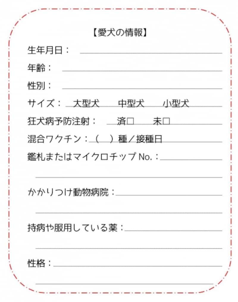 愛犬用エマージェンシーカード見本(裏)