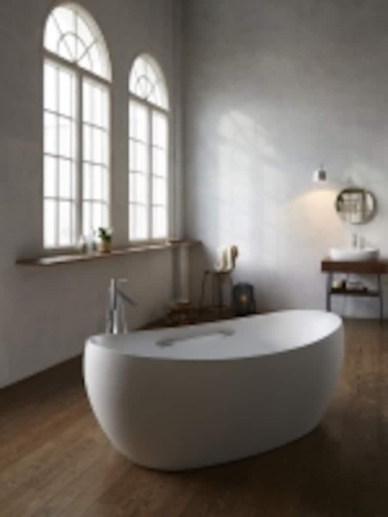 しっとりとしたマットな質感の人工大理石を用いた、船のような丸みのあるデザイン。同じデザインの洗面台も揃い、トータルにコーディネートすることも可能。[CEY41814undefinedバスタブundefined1800×900mm]undefinedセラトレーディングundefinedhttp://www.cera.co.jp/