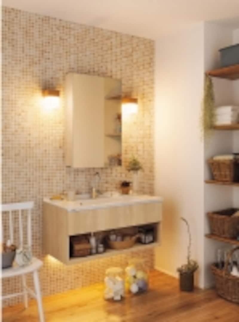 undefinedホワイトカウンターの洗面とモザイクタイルでナチュラルなスタイルに。優しい光を生み出す照明もアクセントに。undefined[洗面ドレッシングCline(シーライン)]パナソニックエコソリューションズundefinedhttp://sumai.panasonic.jp/