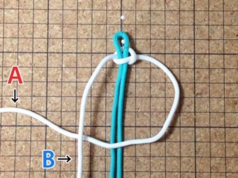 今度は右側の編み紐を輪にします。