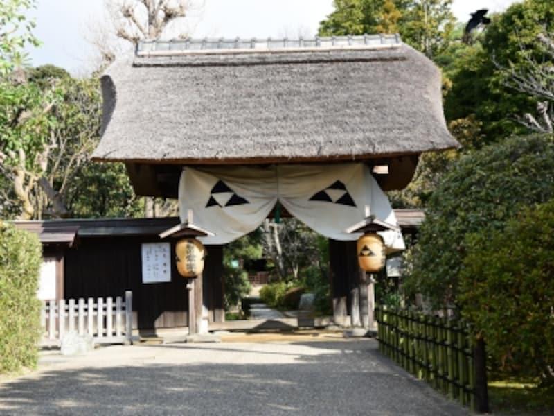 常楽寺の茅葺き屋根の山門