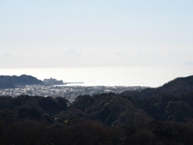 鎌倉市街地と海(六国見山展望台より)