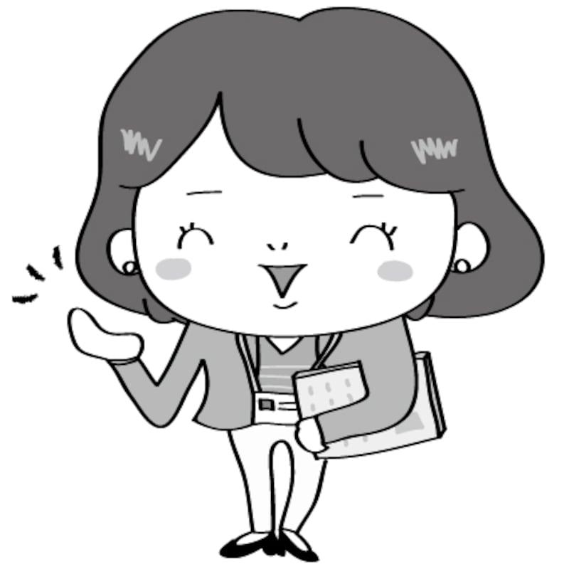 【モノクロ】案内をする女性会社員です。