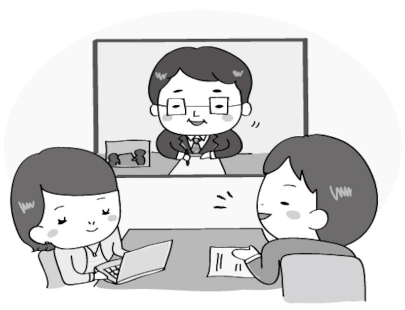 【モノクロ】テレビ会議の様子のイラストです。