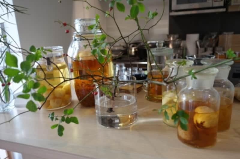 カフェにディスプレイされた果実酒。