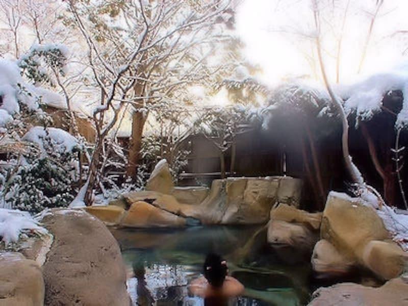 福地温泉湯元長座の雪見露天風呂