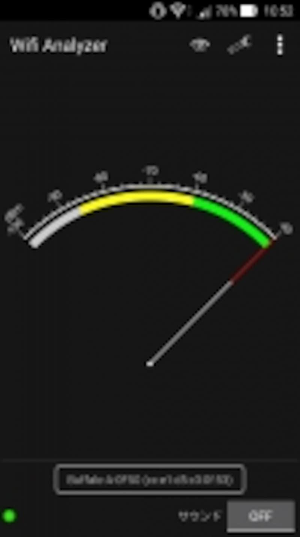WiFiundefinedAnalyzerのシグナルメータモード。