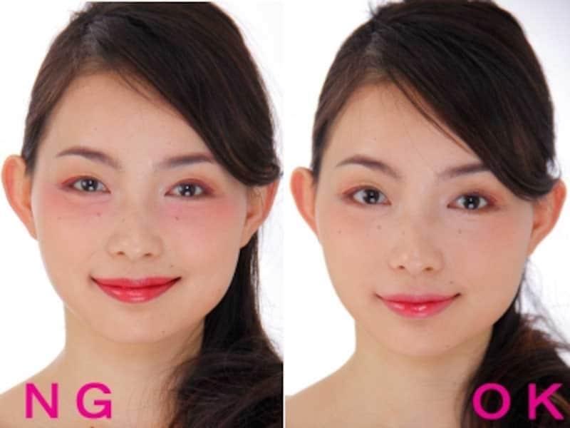 左:盛りすぎNGメイクundefinedundefinedundefined右:OK赤シャドウメイク
