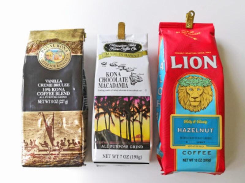 ハワイのメジャーコーヒーブランド。左からロイヤルコナコーヒー、ハワイアンアイルズコナコーヒー、ライオンコーヒー