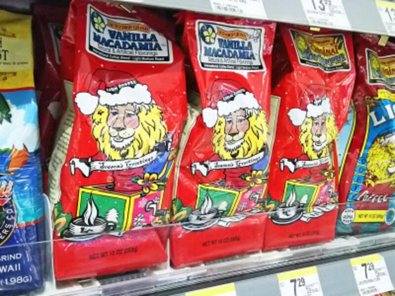 ライオンがクリスマスバージョンに変わるライオンコーヒーのクリスマス限定コーヒー。パッケージの可愛らしさで絶対買い!