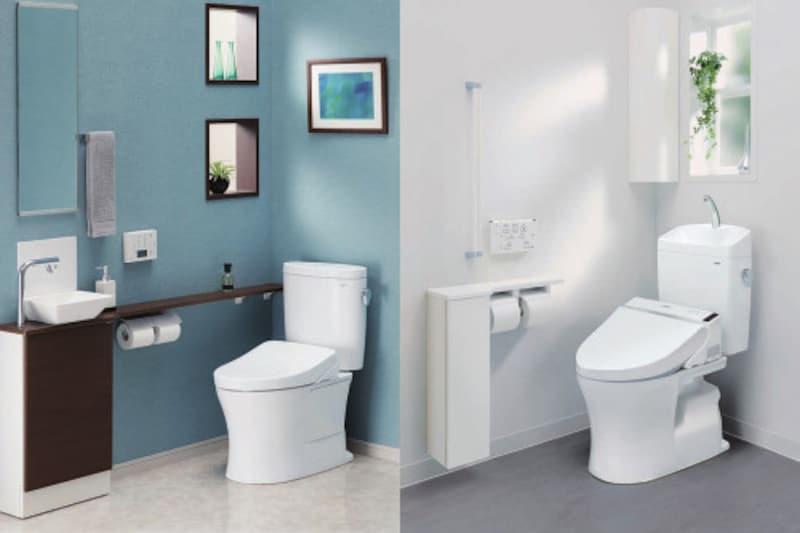 (左)便器/床置床排水大便器ピュアレストEX   ¥54,000タンク/密結タンク(ピュアレストEX)手洗なし  ¥54,400便座/ウォシュレット アプリコットF3AWタイプ ¥179,000(右)便器/床置床排水大便器ピュアレストQR   ¥41,000タンク/手洗付密結タンクピュアレストQR  ¥55,600便座/ウォシュレットS1Aタイプ      ¥102,000