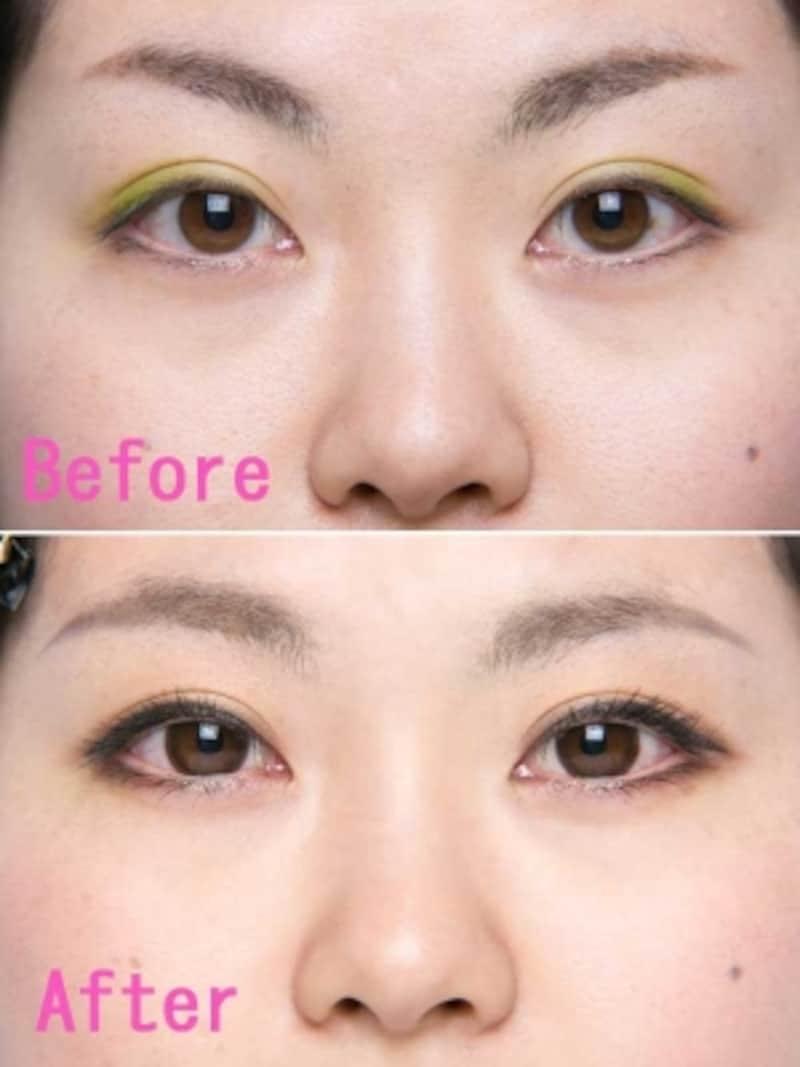 (上)目の横幅を延長するイメージで(下)ソフトで優しい雰囲気に