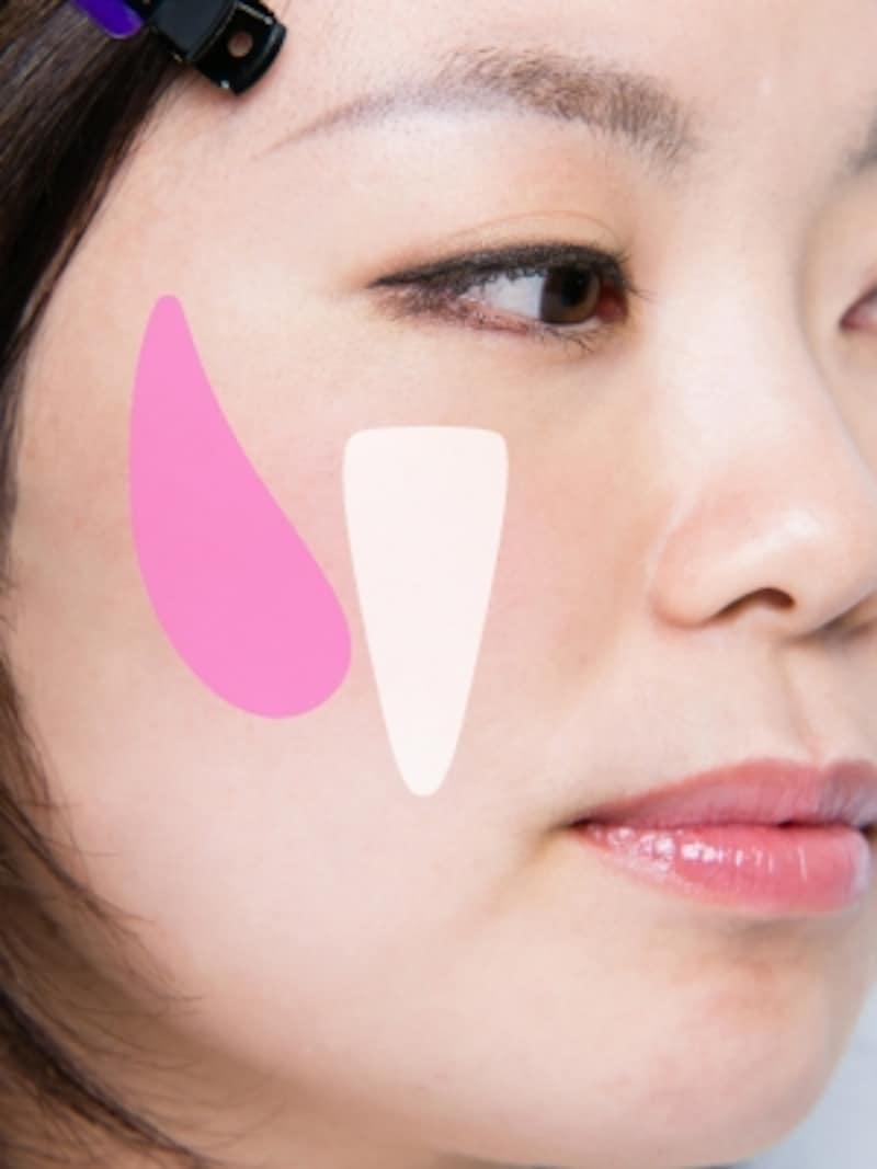 ピンクはチーク、白はハイライト。縦のラインを意識!