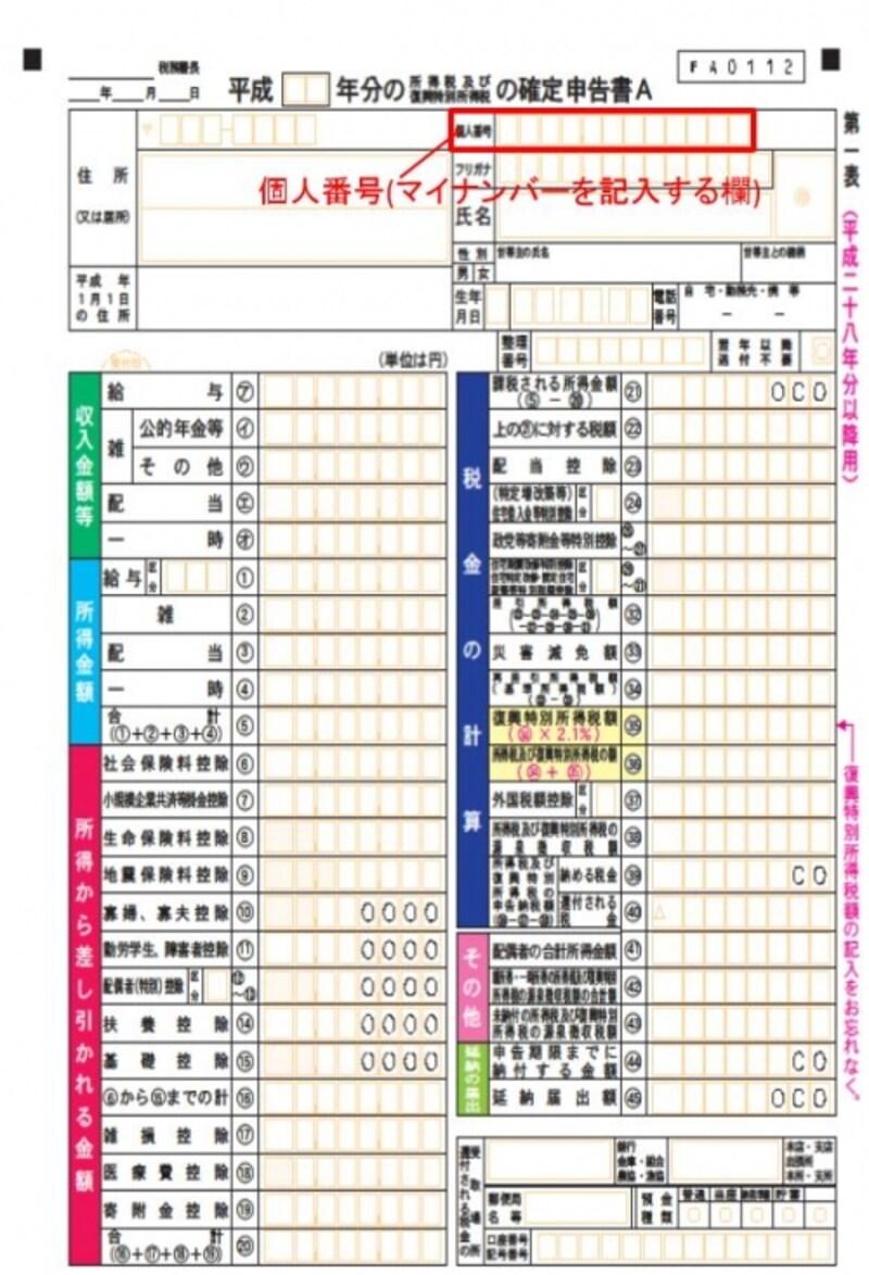 確定申告書A様式のサンプル(国税庁HPより)