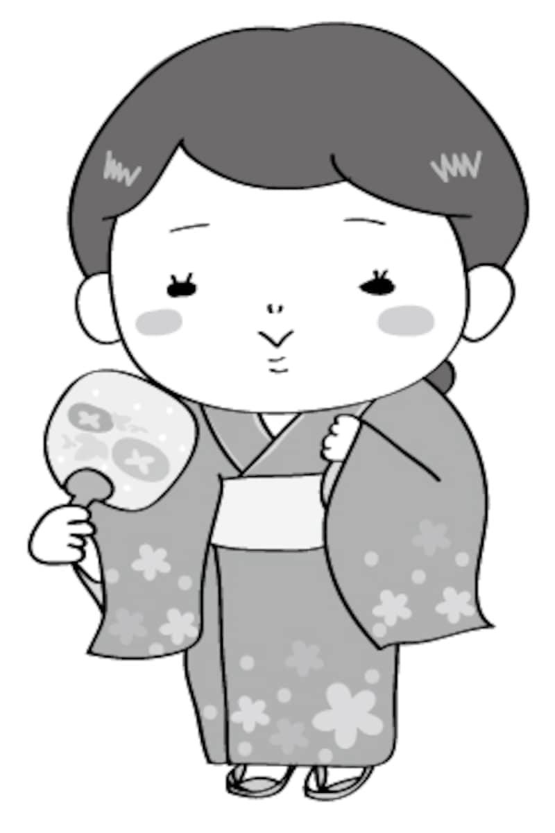 浴衣の女性 夏祭り イラスト 白黒 かわいい