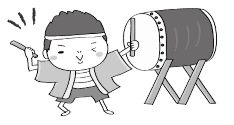太鼓 夏祭り イラスト 白黒 かわいい