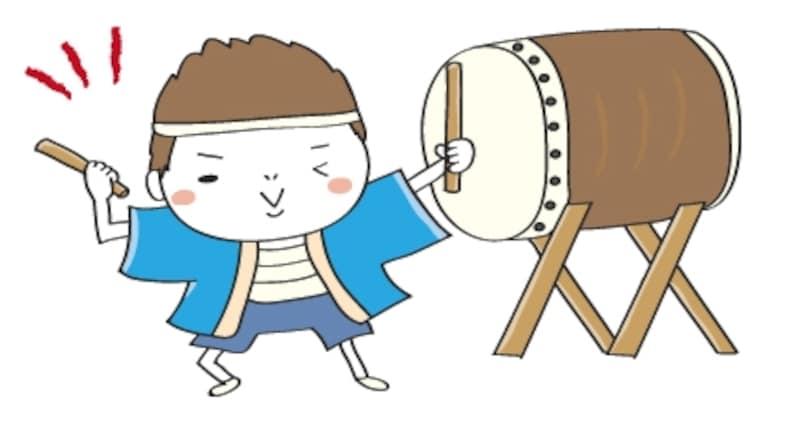 太鼓 夏祭り イラスト カラー かわいい