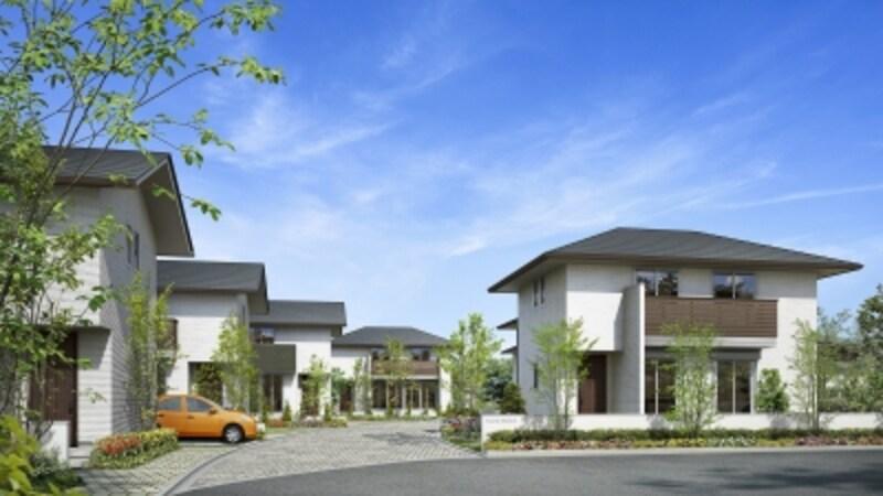 『フォレストメゾン貸家WF』の外観。一戸建てタイプは高めの賃料設定が可能なのも魅力的。ファミリー層の入居で、安定したコミュニティの形成が期待できます
