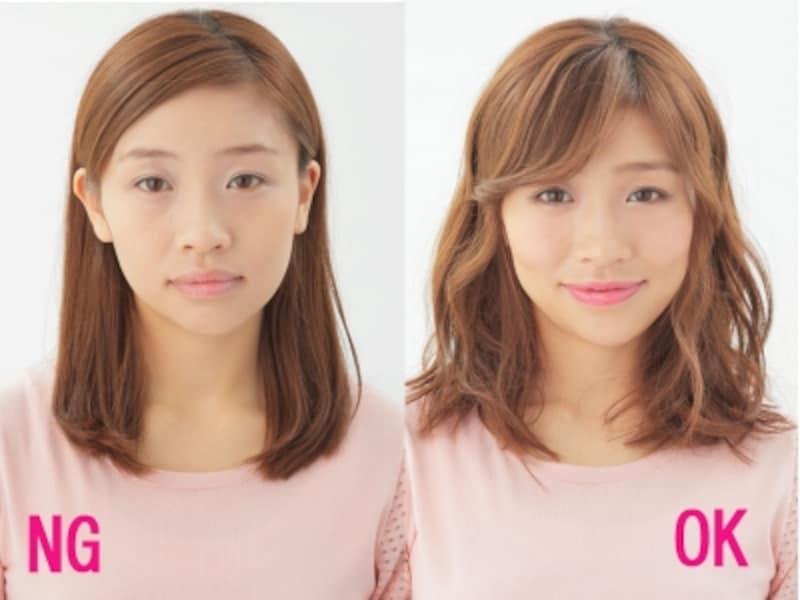 NG:顔全だし・のっぺりフォルムundefinedOK:前髪+ひし形フォルム