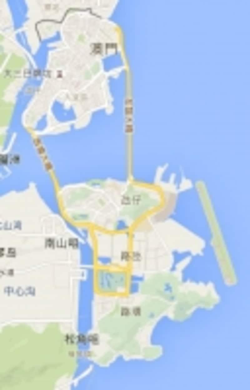 マカオ全体図(CopyrightGoogle)