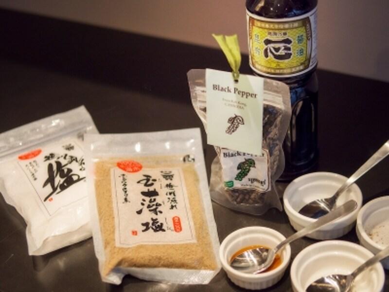 醤油や塩、オリーブ油などは購入可能。胡椒のフルーティーさに感嘆!