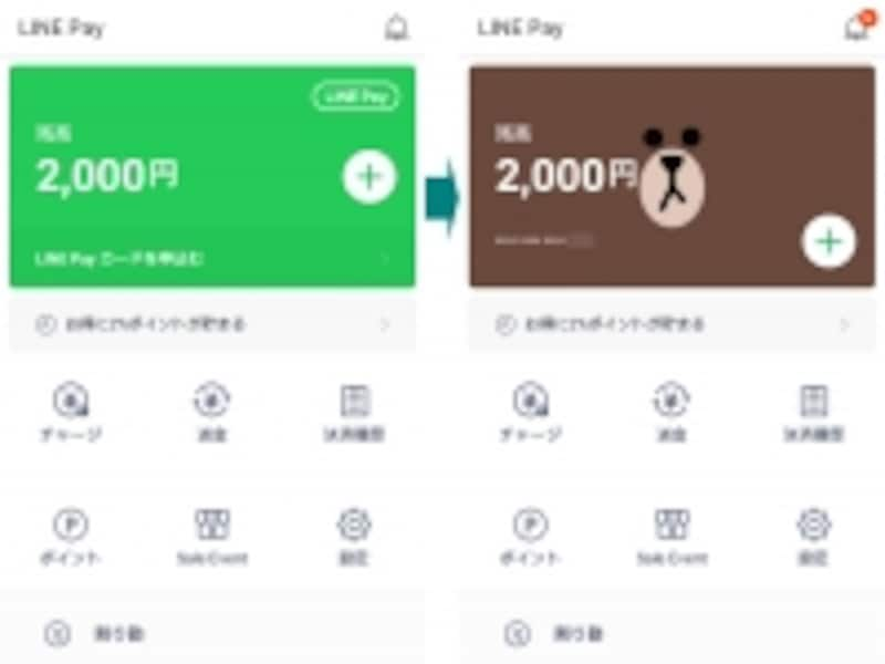 LINEPayカードを有効化すると、カードデザインに切り替わる