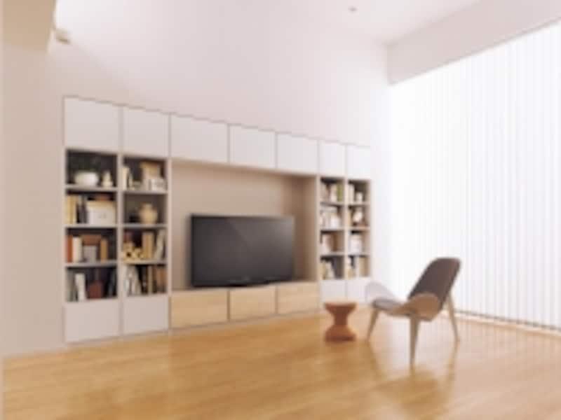 壁面を利用し、テレビとともに、見せる収納と隠す収納のバランスを持たせたシステム収納プラン。[システムファニチャーキュビオス]undefinedパナソニックエコソリューションズhttp://sumai.panasonic.jp/