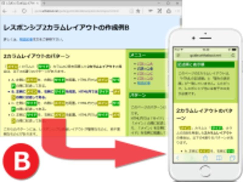 2カラムレイアウトでは、左側メイン・右側サイド。HTML内ではサイド→メインの順に記述。