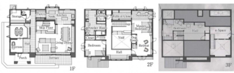 新座・朝霞モデルハウスの間取り図。1階はLDK中心のパブリックスペース、2階・3階にはプライベートスペースを配しています