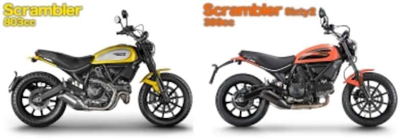 2015年に登場したドゥカティスクランブラーは排気量803cc。今回のSixty2は排気量が399ccなので、400ccまでが対象となる普通自動二輪免許での乗車が可能