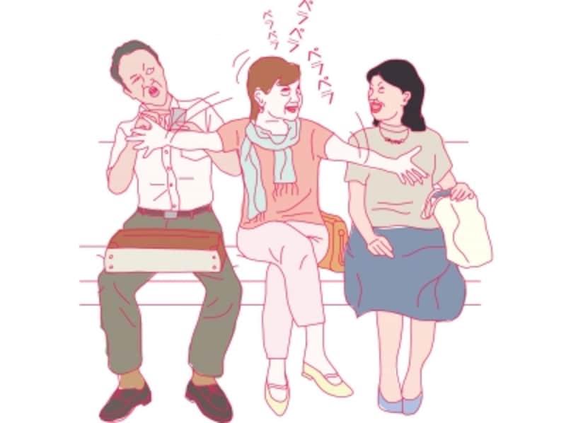 オバサンは、人目を気にしないで電車の中でおしゃべりする