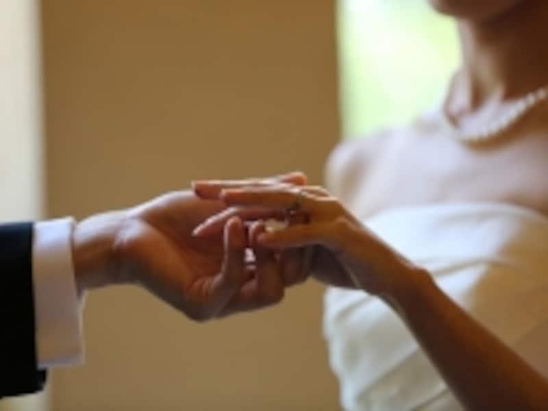永遠の愛を誓う結婚式での指輪交換