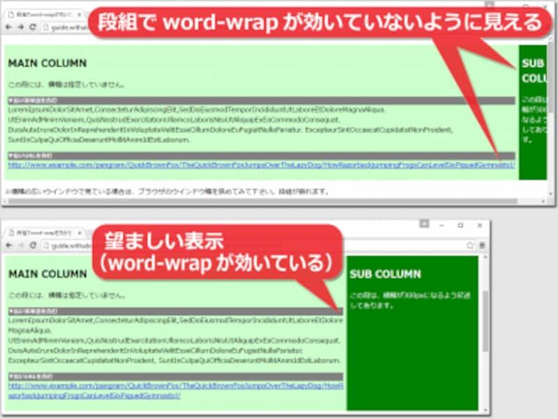 段組の内側でword-wrapの指定が効いていないように見えてしまう例(※図の上側)