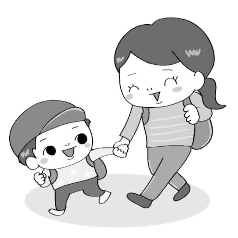 親子 遠足 イラスト 白黒 かわいい
