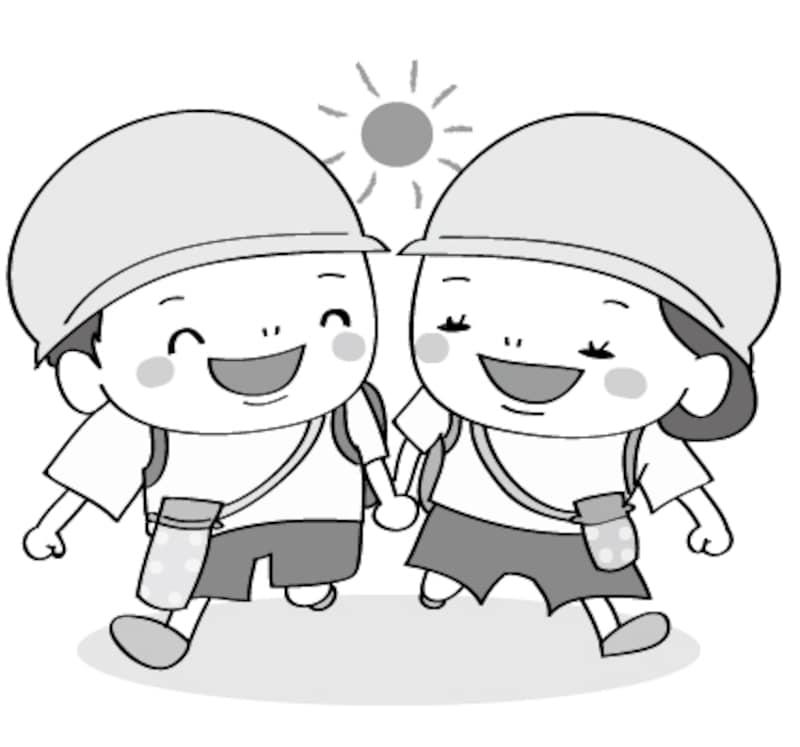 幼稚園 遠足 イラスト 白黒 かわいい