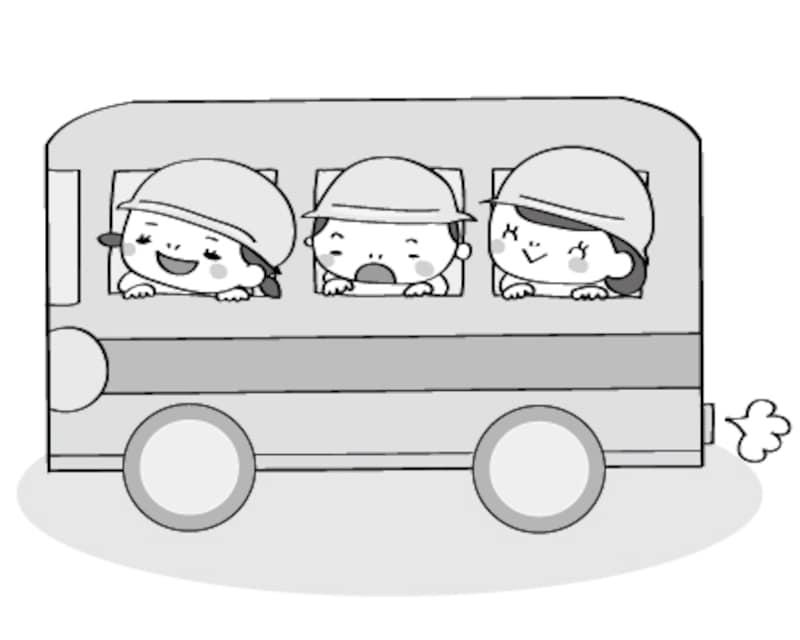 バス 遠足 イラスト 白黒 かわいい