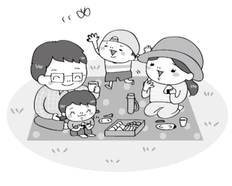 家族ピクニック 遠足 イラスト 白黒 かわいい